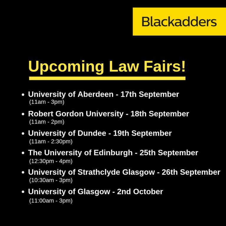 Blackadders' Upcoming Law Fairs